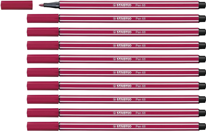 STABILO Pen 68 Pennarello colore Rosso Scuro Confezione da 10