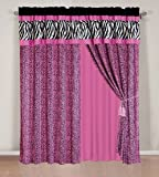 "4 - Piece Rod Pocketed HOT PINK Black White Zebra Leopard Micro Fur curtain set Drapes / Window Panels 120"" Wide X 84"" Tall"