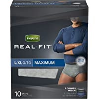 Depend Real Fit Incontinence Briefs for Men, Maximum Absorbency, L/XL, Colors and Packaging May Vary, 10 Count (Pack of 4)