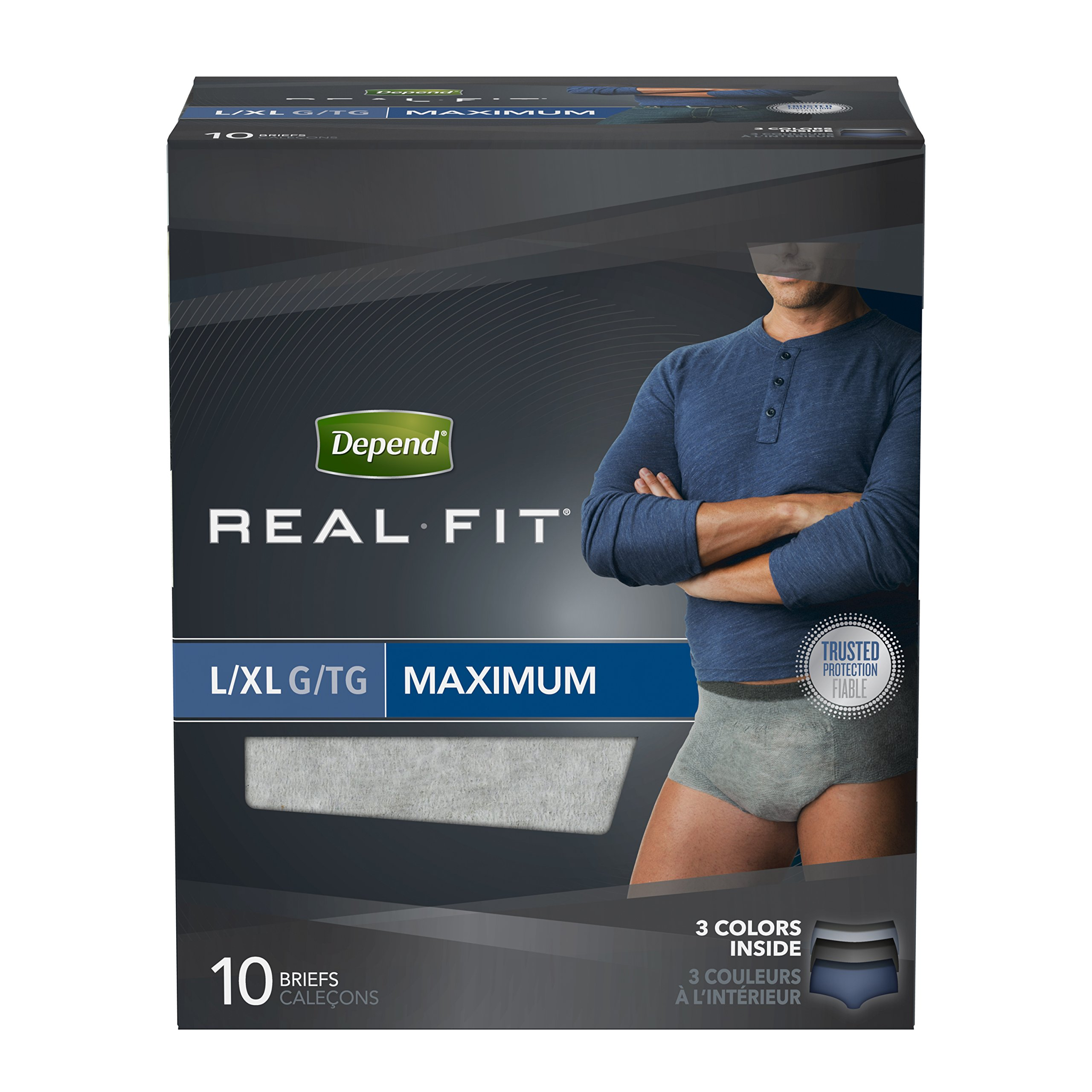 Depend Real Fit Incontinence Underwear for Men, Maximum Absorbency, L/XL (pack of 4)