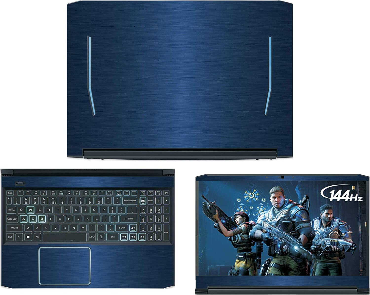 "Decalrus - Protective Decal for Acer Predator Helios 300 PH315-52 (15.6"" Screen) Laptop Blue Texture Brushed Aluminum Skin case Cover wrap BAACprdator_Helio_300_PH315-52Blue"