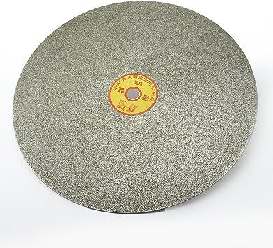 sourcing map 250mm de 10 Pulgadas Granularidad 600 Recubierto de Diamante Plana de Disco Vuelta Rueda de Esmerilado Molienda Muela Discos de Lijado