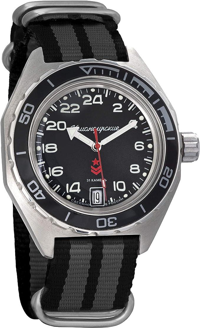 Amazon.com: Vostok Komandirskie Automatic 24 Hour Dial Russian Military Wristwatch WR 200m (650541 Black+Grey): Watches