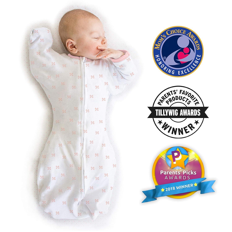 0-3 Mesi Coriandoli Argento Piccolo Amazing Baby by SwaddleDesigns Sacco Avvolgente di Transizione con Maniche Swaddle Sack with Arms Up