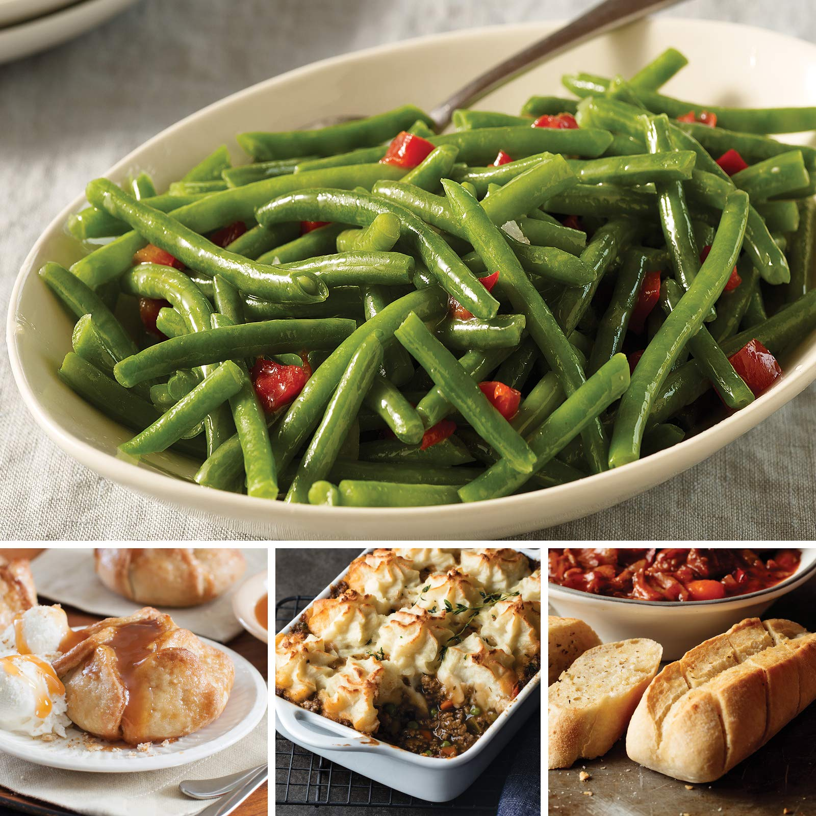 Omaha Steaks St. Patrick's Pub-Style Feast (11-Piece with Beef Shepherd's Pie, Green Beans, Mini-Baguettes with Garlic Butter, and Individual Caramel Apple Tartlets)