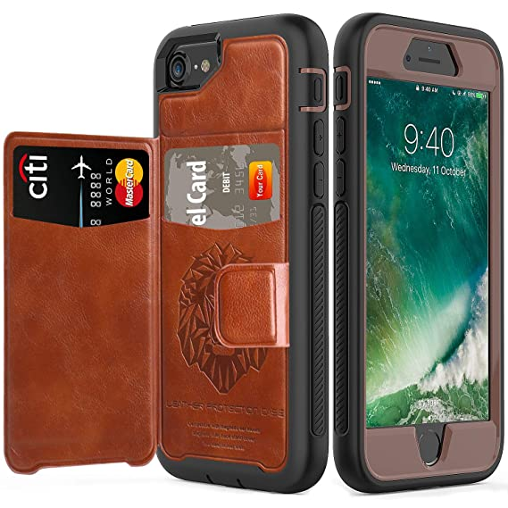 new concept ef347 87ba1 SXTech iPhone 8 Case 2017 iPhone 7 Case 2016 with Built-in Magnetic  Backing, (Leather Cover Series) Slim Yet Protective with Card  Holders.Kickstand ...