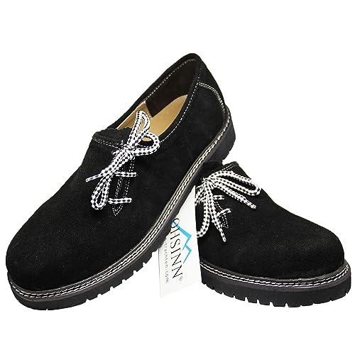 Frohsinn - Zapatillas, piel auténtica, para traje bávaro, todas las tallas, color negro, marrón claro, marrón oscuro: Amazon.es: Zapatos y complementos
