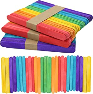 120 Pcs Colored Popsicle Sticks for Crafts, 4.5 Inch Colored Wooden Craft Sticks, Ice Cream Sticks, Lolly Sticks Great for DIY Craft Creative Designs and Children Education