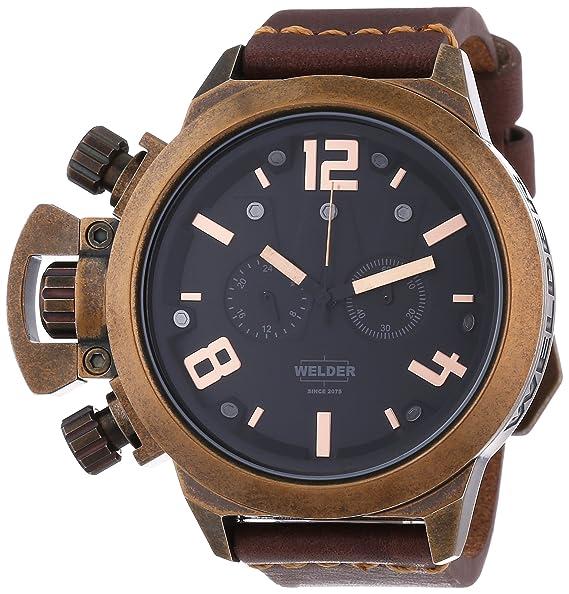 Welder 3610 - Reloj de cuarzo, correa de cuero color marrón