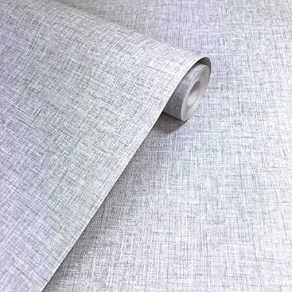 Linen Texture Light Grey Wallpaper Woven Effect Modern Feature