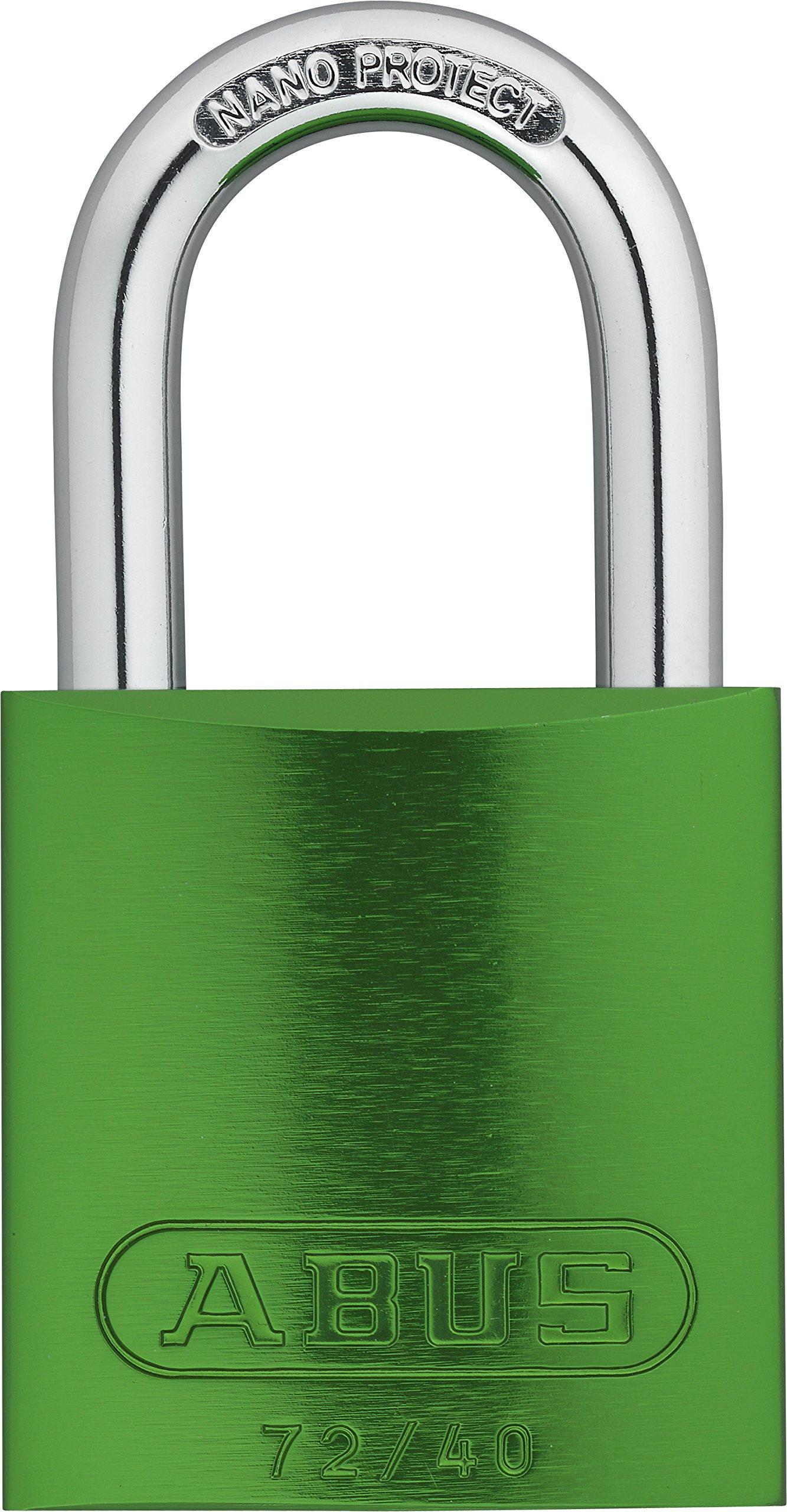 ABUS 72/40 KA Safety Lockout Aluminum Keyed Alike Padlock with 1-Inch shackle, Green