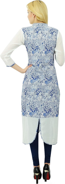 Bimba Women Straight Rayon Custom Kurta Kurti Ethnic Indian Blue Top Casual Formal Tunic