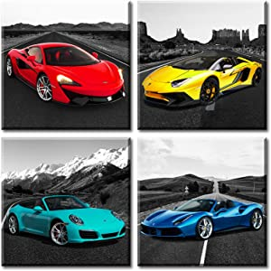 JiazuGo Teen Wall Decor Art Colour Roadster Posters for Boys Office Room Decorations Men Super Car Race Pictures Artwork Modern Canvas Painting Stretched and Framed Ready to Hang…