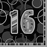 Glitz Cumpleaños Servilletas De Papel, Paquete de 16 - Negro