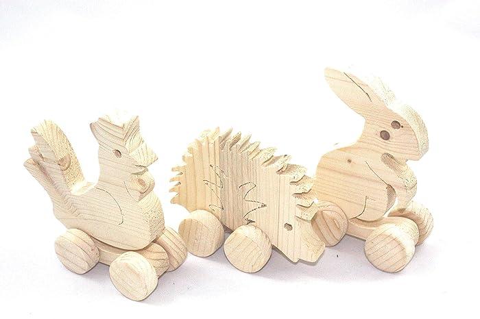 3er Set Kleine Tiere Aus Holz Auf Rädern Holzfiguren Zum Bemalen