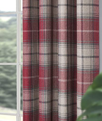 Alexandra Cole Red Plaid Curtains Drape