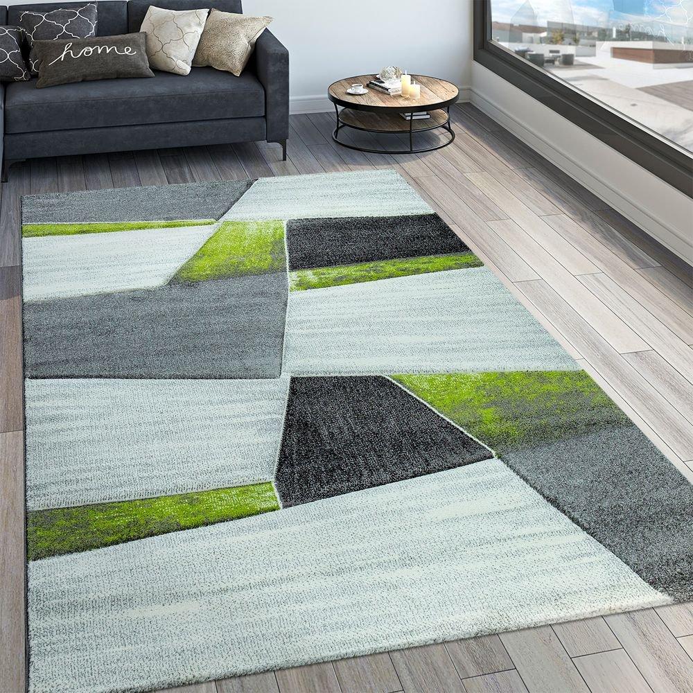 Paco Home Designer Teppich Modern Konturenschnitt Geometrisches Muster Grau Grün, Grösse 200x290 cm