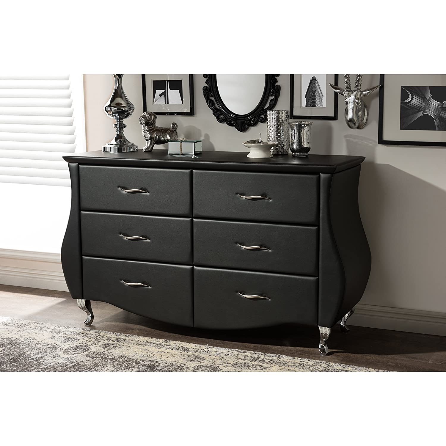 dresser with mirror contemporary debora black white drawer pin acme