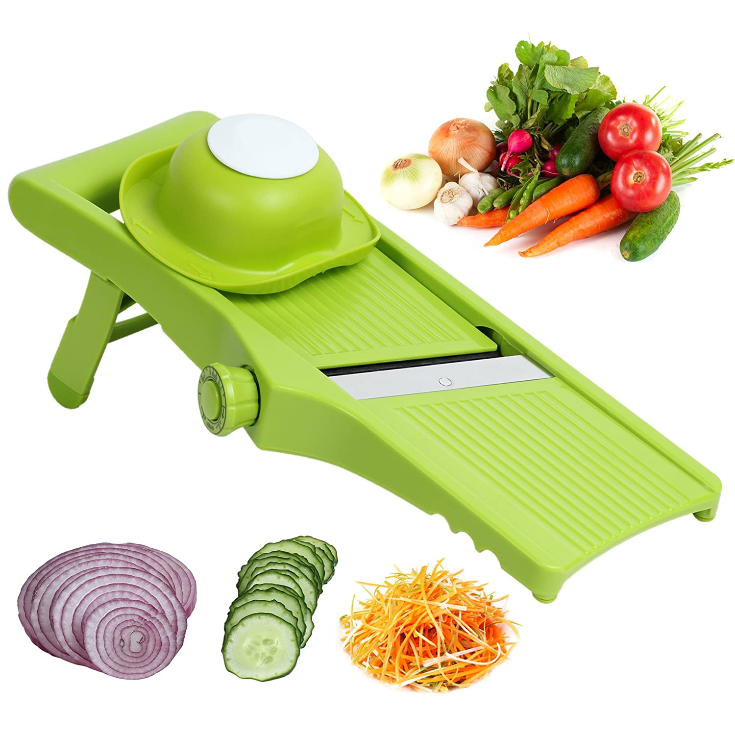 Matacol Mandoline Slicers Hand Held Food Fruit Cutter Vegetable Slicer and Julienne Strips French Fries Stainless Steel Integrated Blade with Food Holder