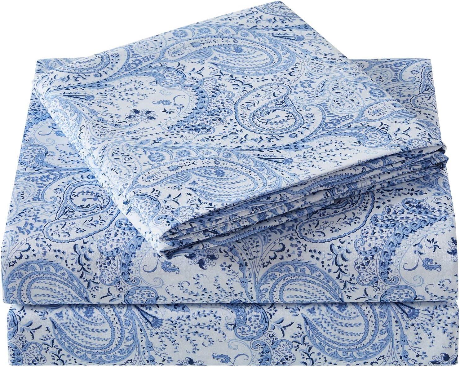 Bed Sheet Set 4 Pc Paisley Blue