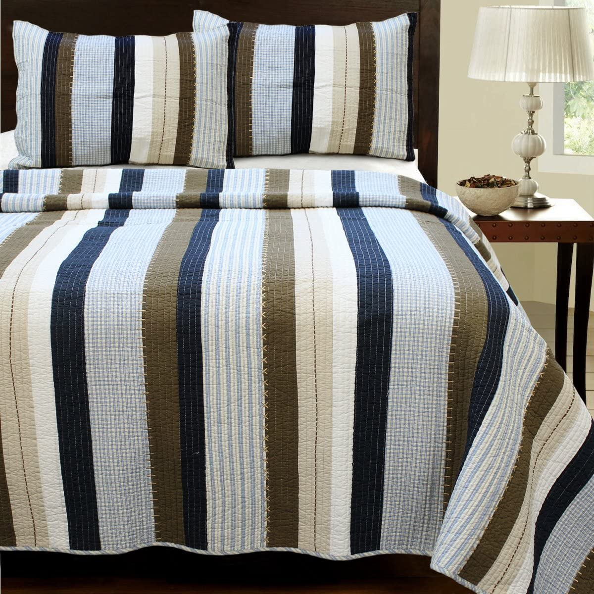 Cozy Line Home Fashions Nathan Quilt Bedding Set, Navy/Blue/White/Brown Plaid Striped 100% Cotton, Reversible Coverlet, Bedspread Set (Nathan Stripe, Queen -3 Piece)