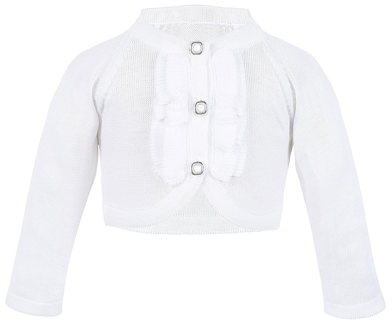 Lilax Baby Girls' Knit Long Sleeve Button Closure Ruffle Bolero Cardigan Shrug 3777