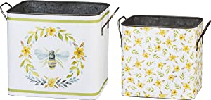 Primitives by Kathy Decorative Metal Bins, Set of 2, Bumble Bees