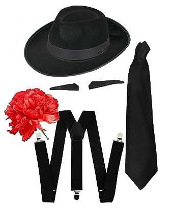Gangster Fancy vestido Set de accesorios + Negro corbata de flores ...