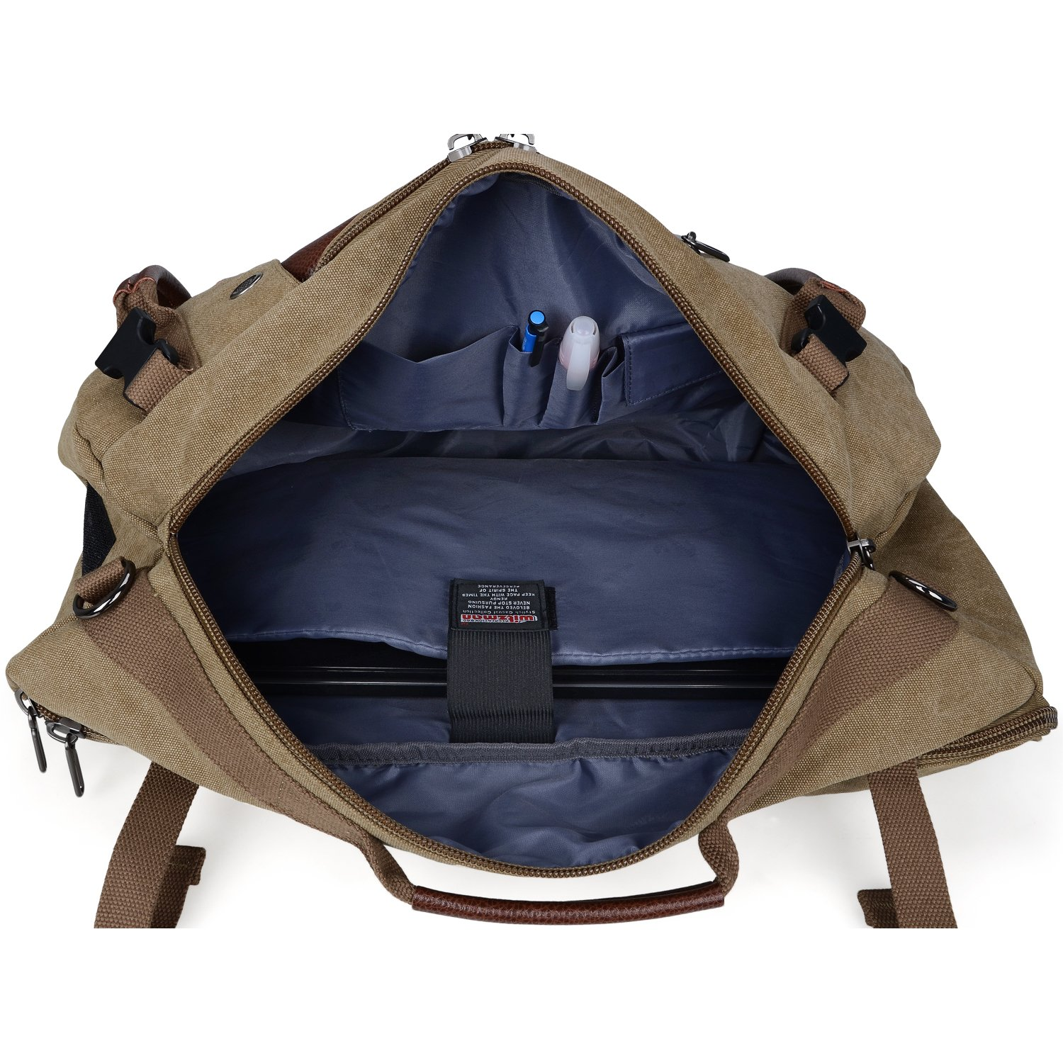 a9afd276f6 Canvas Backpacks Witzman Mens Duffel Leather Hiking Casual Travel Rucksacks  A2021  (21 inch Brown ) ...