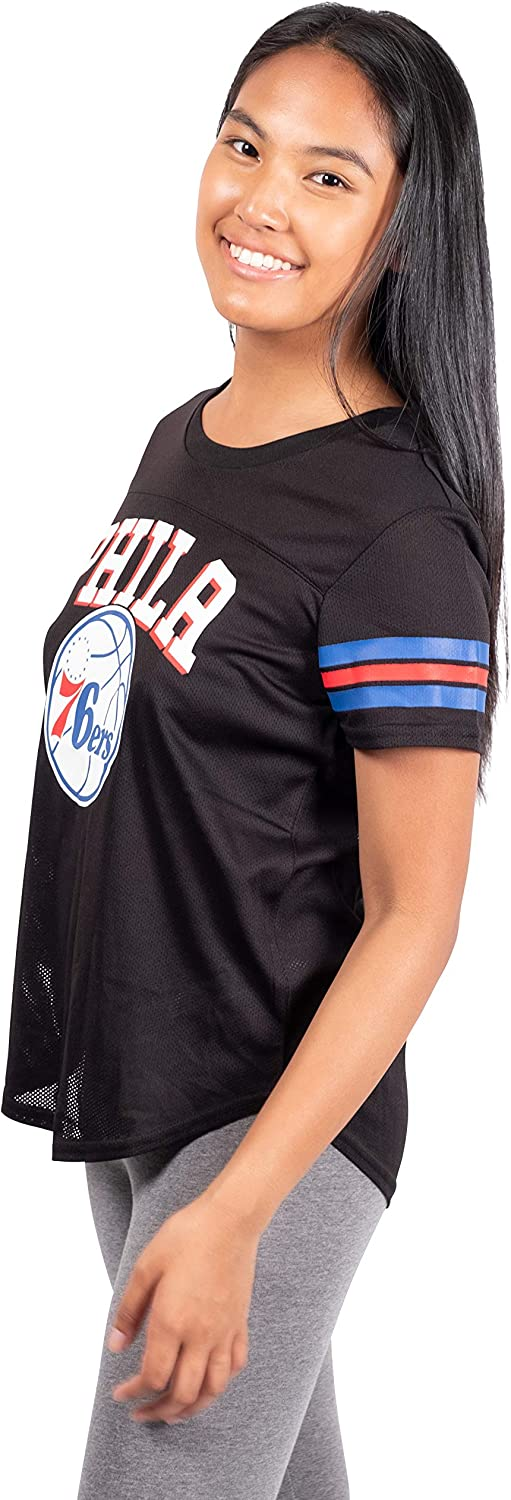 Ultra Game NBA Philadelphia 76ers Womens Soft Mesh Jersey Tee Shirt Black X-Large