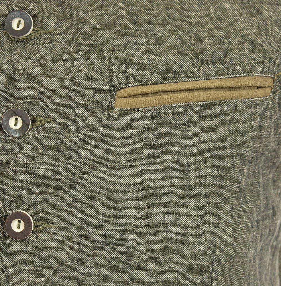 Maddox Country Leinen Trachten Weste Oliver Moderne Herren Weste zur Lederhose Jeans Olivgr/ün