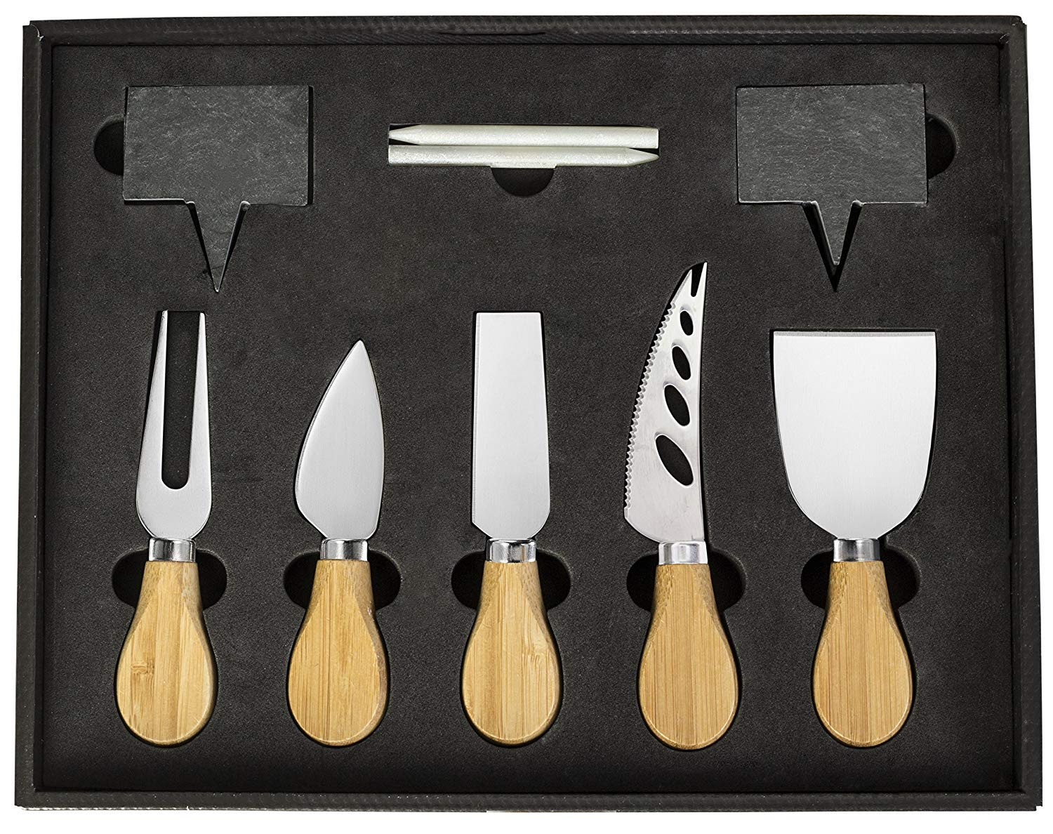 Cheese Knife And Marker Set, 5 Cutlery Knives Stainless Steel Bamboo Handles, 4 Cheese Board Labels Made Of Natural Black Slate Includes 2-Chalk Markers.Gift For All Occasions Upgrade By House Ur Home by House Ur Home (Image #2)