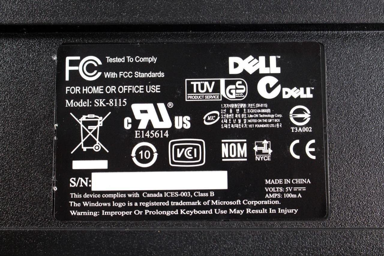 Dell USB Business Slim Desktop PC Office Home Keyboard SK-8115 DJ329 L100