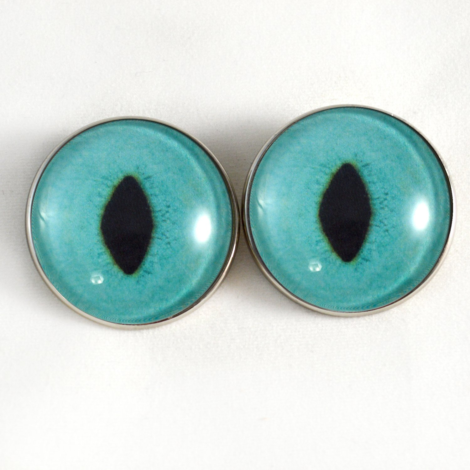 Bright Turquoise Cat Sew On Glass Eyes 30mm Buttons with Loop for Crocheted Doll Stuffed Animal Soft Sculptures or Jewelry Making Crafts Set of 2