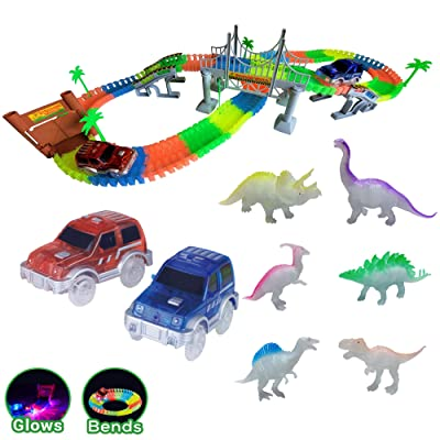 Dinosaur Adventures Glow in the Dark Race Tracks | 168 Track Pieces 6 Dinos 2 Cars | Jurassic World Create a Road Educational STEM Dino Toy Set for Birthday Gifts for 3 year old Boys and up: Toys & Games