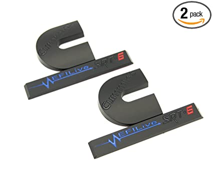 2 Matte Black & Gloss Blue/Red Cummins Turbo Diesel EFI LIVE SRT6 Emblems Badges