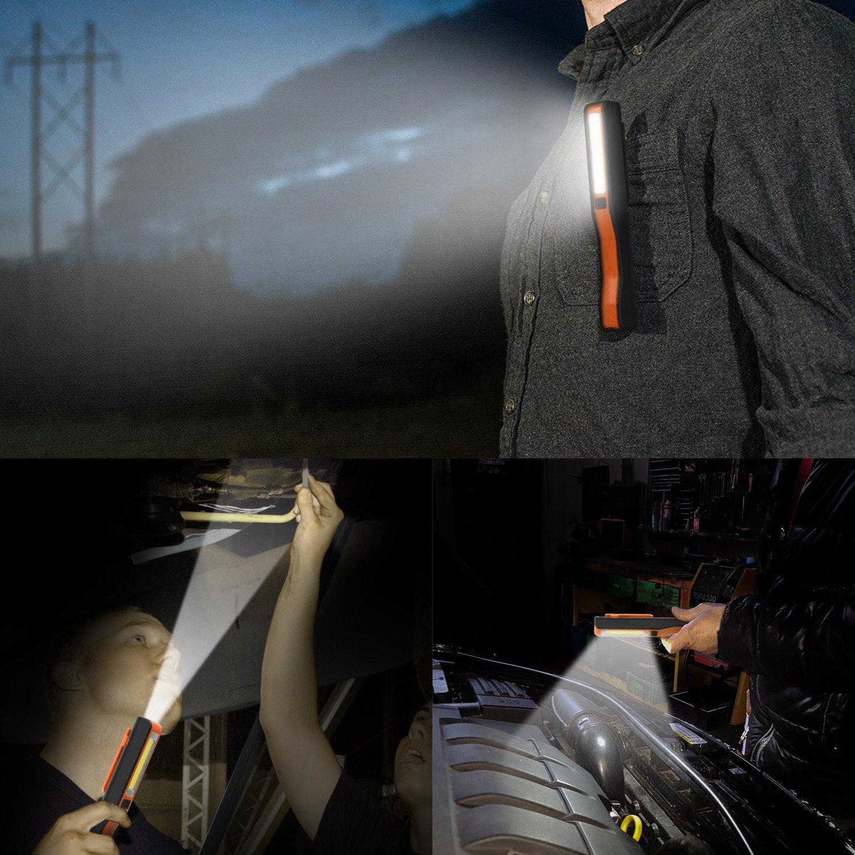 Debonice Linterna de Trabajo LED Recargable COB L/ámpara de Inspecci/ón Port/átil con clip magn/ético para Camping,Emergencia,Mec/ánico