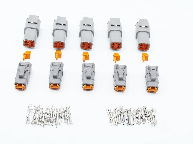 CNKF 5 Sets DTM plug DTM06-4S DTM04-4P 4 pin way male female waterproof auto connectors kaifa elec