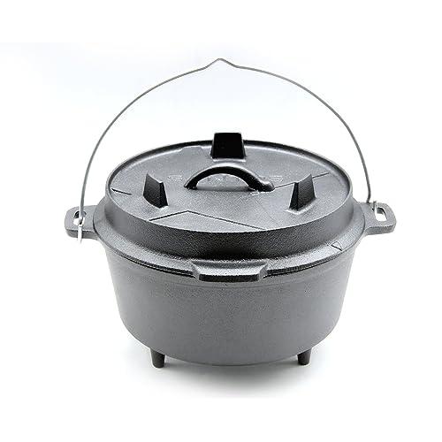 SANTOS Gusseisen Dutch Oven mit Füßen - Durchmesser 24cm x 95cm Höhe ohne Deckel 4 Liter 2-3 Personen 45 Qt ca 10 - Feuertopf Schmortopf Camp Oven für Gasgrill Kohlegrill Offenes Feuer