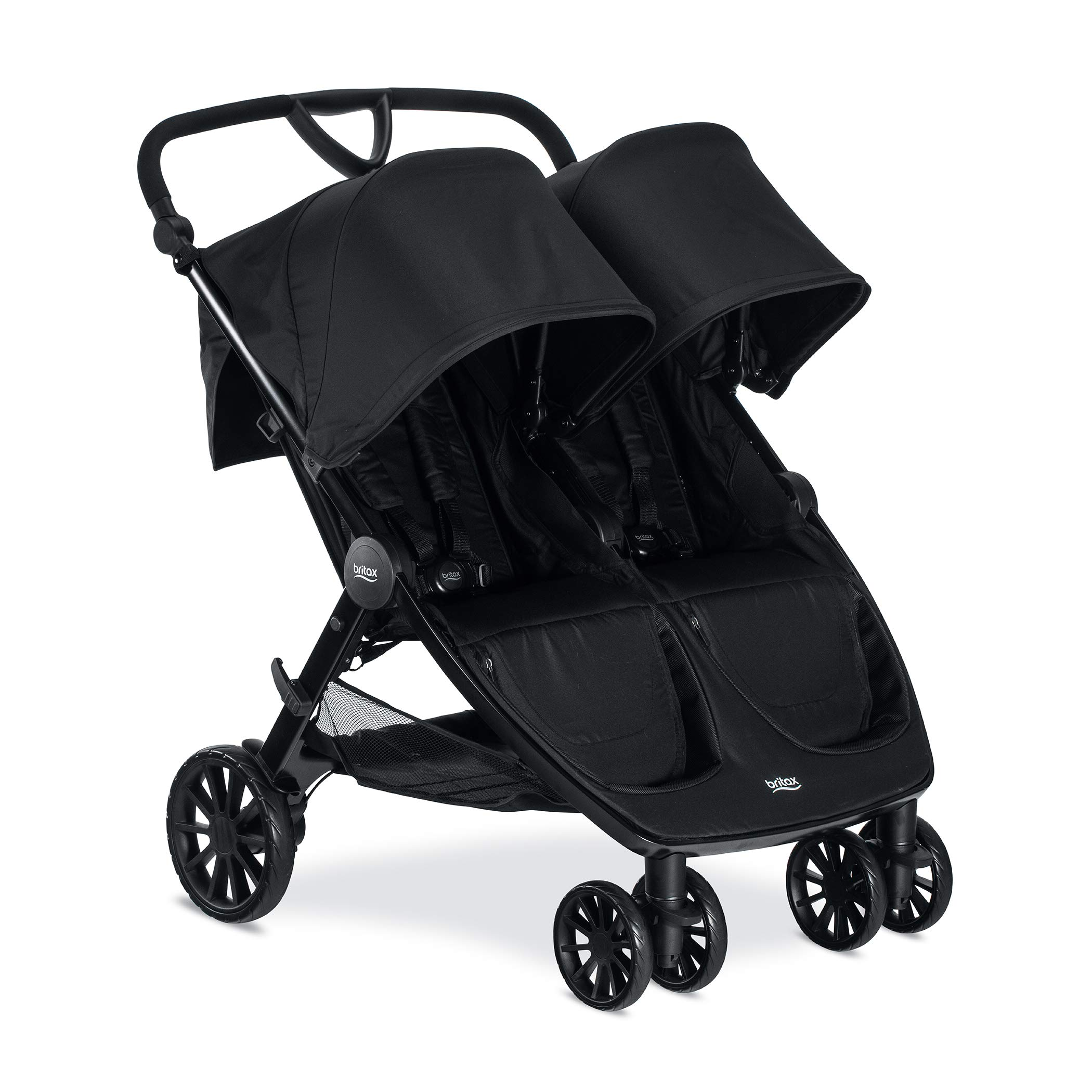 Britax B-Lively Double Stroller - Up to 100 pounds - Car Seat Compatible - UV 50+ Canopy - Adjustable Handlebar - Easy Fold, Raven by BRITAX