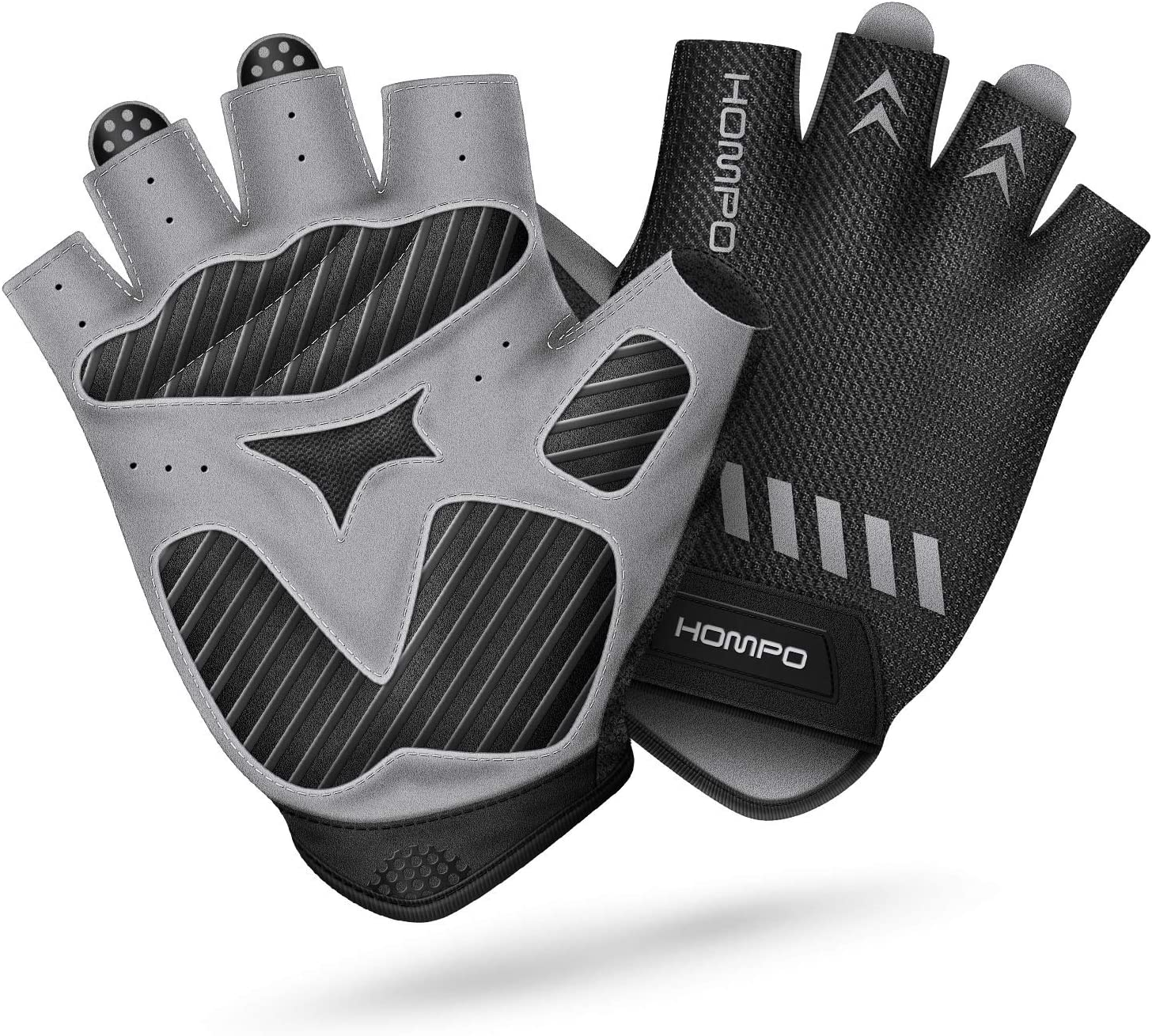 ICOCOPRO Cycling Gloves Breathable Road Mountain Biking Gloves with Adjustable Wrist Velcro Short Sports Gloves for Men Women Half Finger Bike Gloves Anti-Slip Shock Absorbing Padded
