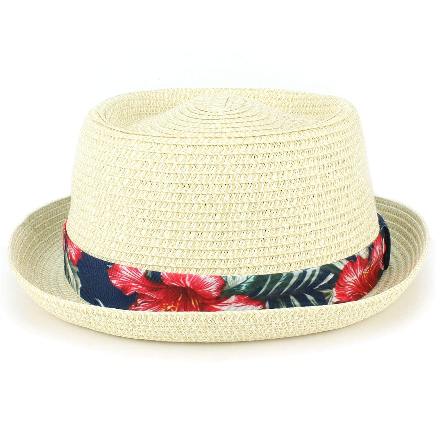 Hawkins Straw Porkpie Hat Hawaiian Floral Band