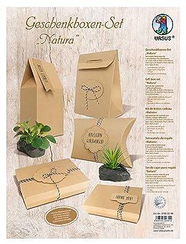 Ursus 27950099 Juego de Manualidades para Cajas de Regalo de cartón Kraft, Natura