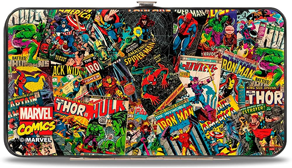 Buckle-Down womens Buckle-down Hinge - Retro Marvel Comic Books Stacked Wallet, Multicolor, 7 x 4 US: Clothing