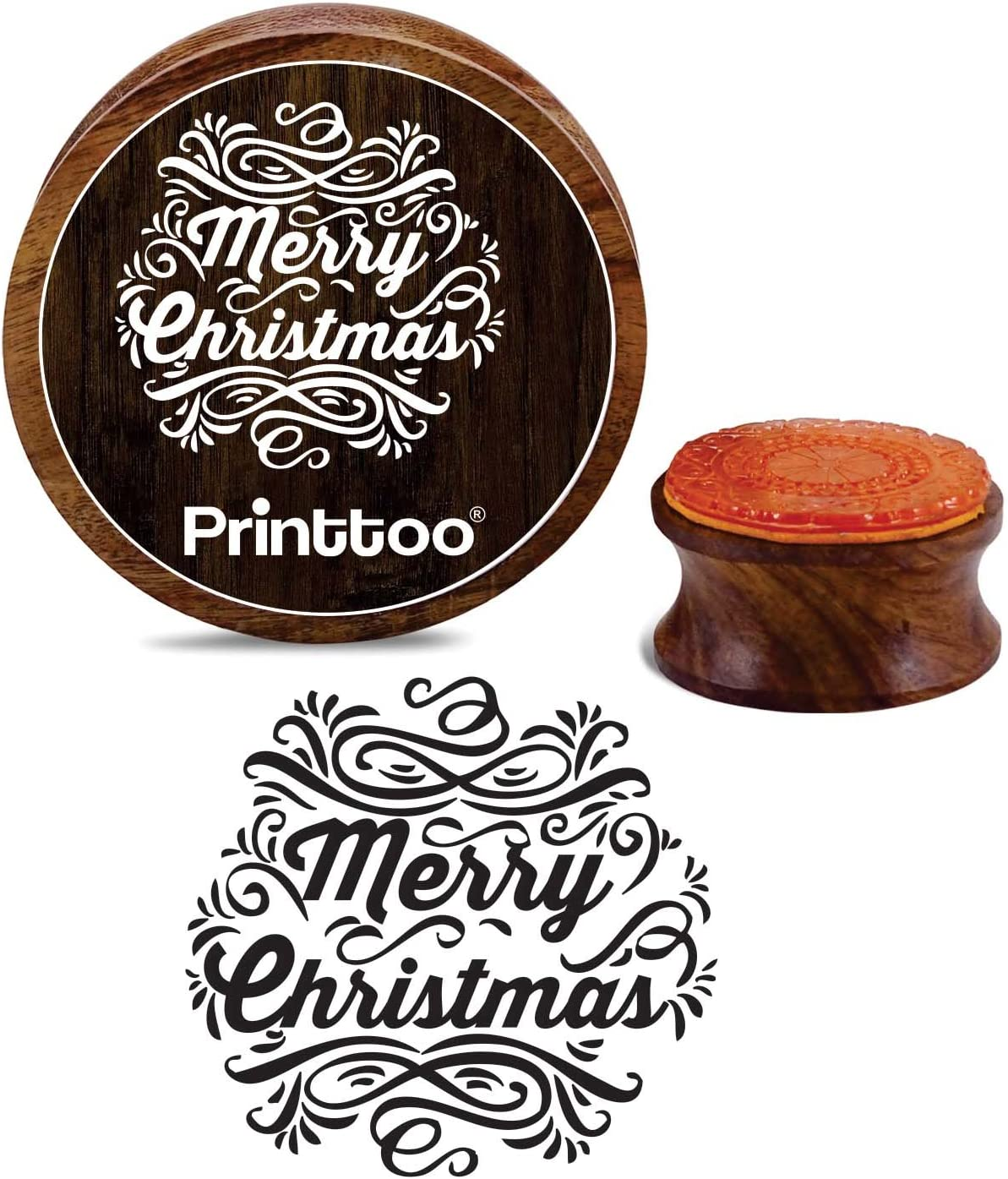 Printtoo Round Wooden Rubber Stamp Merry Christmas Scrap-Booking Craft Textile Stamps-2 Inch