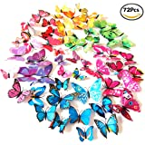 Foonii® 72 Pezzi farfalle 3D adesivi per pareti vari colori decorazione casa stickers murali (12 Pezzi Rosso / Blu / Giallo / Verde / Rosa / Colore)
