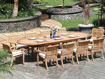 amazon teak outdoor dining set. new 11 pc luxurious grade-a teak dining set - large 117\u0026quot; oval table amazon outdoor e