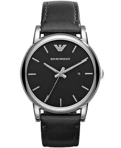 Emporio Armani 0 - Reloj de Cuarzo para Hombre, con Correa de Cuero, Color Negro: Amazon.es: Relojes