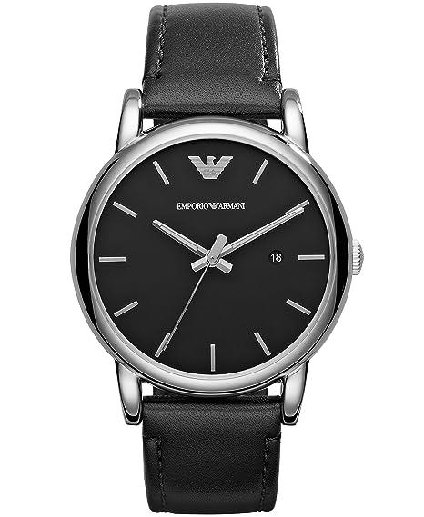 Emporio Armani 0 - Reloj de cuarzo para hombre, con correa de cuero, color