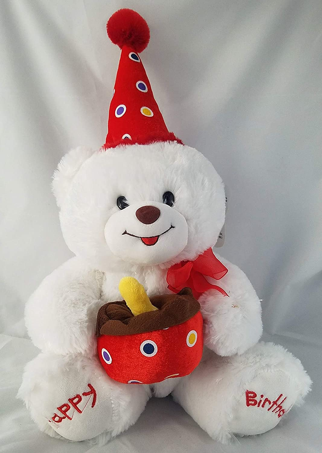 Amazon Stuffed Animal Singing Birthday Teddy Bear White Holding Cake And Wearing Hat Approximately 16 Inches Toys Games